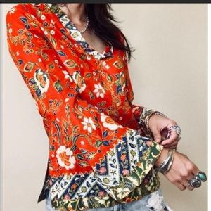 Tory Burch Samba Batik Flower Blouse 0